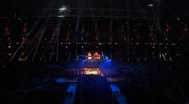 A general view of the action during the fight between Anthony Joshua and Carlos Takam for the World Heavyweight Title at Principality Stadium on October 28, 2017 in Cardiff, Wales. (Photo by Stu Forster/Getty Images)