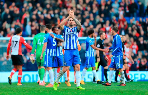 Brighton & Hove Albion's Shane Duffy applauds the fans after the final whistle
