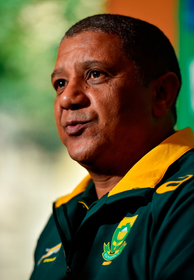 "Coetzee: ""Our process to rebuild the Bok team and steadily work towards the World Cup in Japan is continuing at a good and satisfying pace."" Photo by Brendan Moran/Sportsfile"