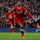 Daniel Sturridge celebrates after scoring Liverpool's first goal at Anfield. Photo: Reuters