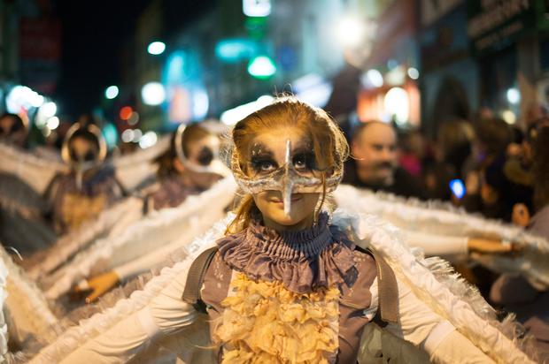 A young performer taking part in the Samhain parade in Galway. Photo: Andrew Downes