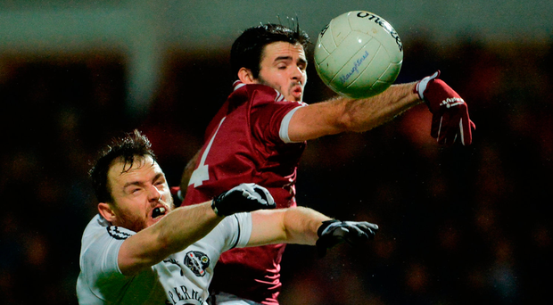 Karl McKaigue of Slaughtneil climbs above Omagh's Barry Tierney during Saturday's Ulster Club SFC quarter-final at Celtic Park in Derry. Photo by Oliver McVeigh/Sportsfile