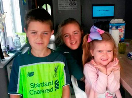 Finn, Keeva and Erin Stewart in a photo from the family album. Photo: PA