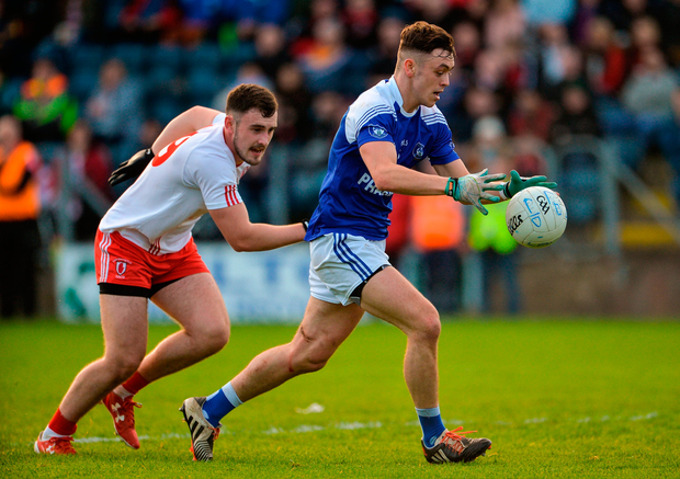 Barry Fortune of Cavan Gaels in action against Padraig Mervyn of Lamh Dhearg. Photo by Oliver McVeigh/Sportsfile