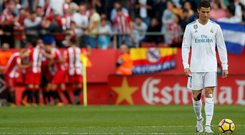 Real Madrid's Cristiano Ronaldo looks dejected after Girona score. Photo: Reuters