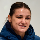Newly crowned WBA Female World Lightweight Champion Katie Taylor with stitches above her right eye