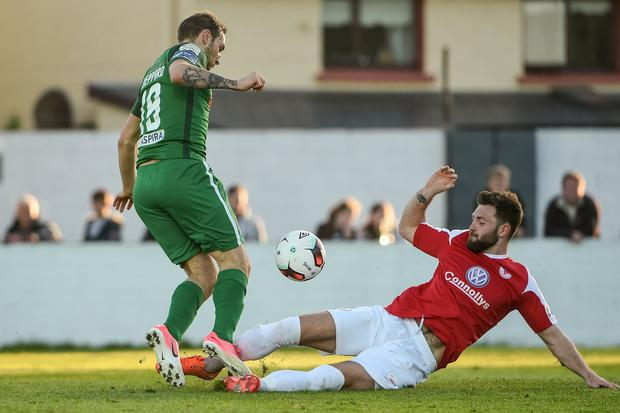 Rovers' Kyle Callan McFadden in action against Cork City's Karl Sheppard. Photo: David Maher/Sportsfile