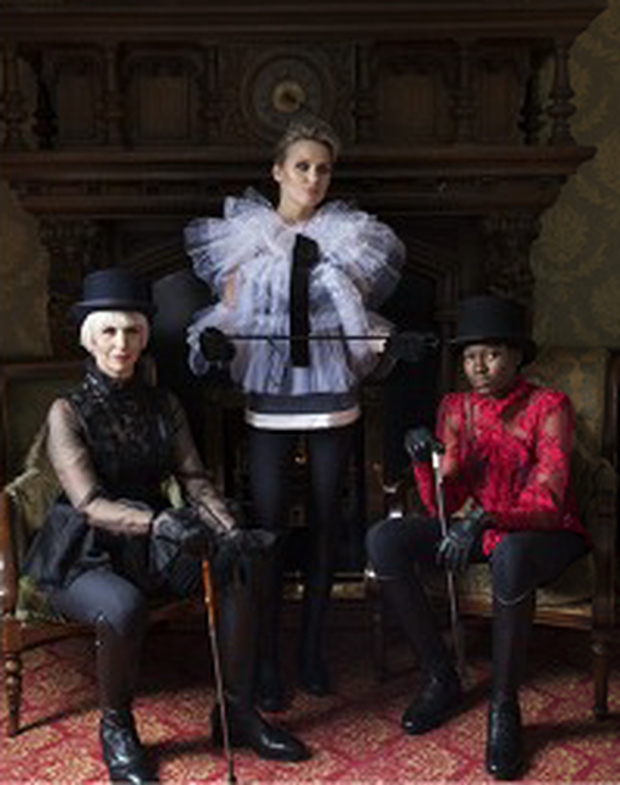 Aisling O'Loughlin wears Blouse, €349, Catriona Hanly. Hat, €120, Christys of London, The Equine Warehouse. Lasma Kalnaja, middle, wears Top, €395, Catriona Hanly. Taylor Odigie, left, wears: Blouse, €395, Catriona Hanly.