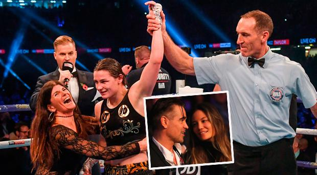 Referee Steve Gray raises Katie Taylor's hand in victory as she celebrates winning the WBA World Lightweight Title with mother Bridget Taylor and (inset) Colin Farrell at the fight