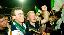 Manager Colm O'Rourke and Graham Geraghty celebrate victory in 1999
