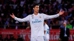 Real Madrid's Cristiano Ronaldo looks dejected