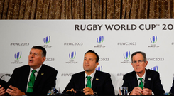 (L-R) Former Irish international rugby player Brian O'Driscoll, Irish Rugby chief Philip Browne, Ireland's Prime Minister Leo Varadkar, Ireland 2023 Bid Chairman Dick Spring, Ireland's Sports minister Shane Ross and head of the Northern Ireland civil service David Sterling take part in a press conference after Ireland presented their bid to host the 2023 Rugby World Cup in London on September 25, 2017 Photo: Getty
