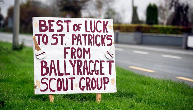 A sign for St Patricks GAA club in Ballyragget, County Kilkenny who won the intermediate hurling county final.