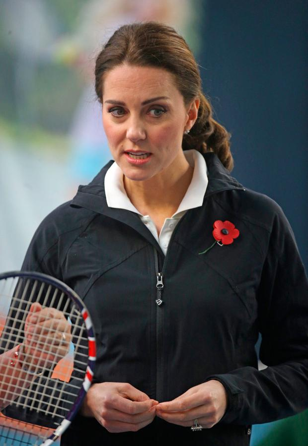 Kate Middleton during a visit to the Lawn Tennis Association at the National Tennis Centre, London. Photo: Steve Parsons/PA Wire