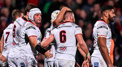 28 October 2017; Sean Reidy of Ulster is congratulated by team mates after scoring his side's first try during the Guinness PRO14 Round 7 match between Ulster and Leinster at Kingspan Stadium in Belfast. Photo by David Fitzgerald/Sportsfile