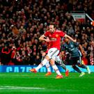 Manchester United's Daley Blind scores his side's second goal of the game during the UEFA Champions League, Group A match at Old Trafford, Manchester. PRESS ASSOCIATION Photo. Picture date: Tuesday October 31, 2017. See PA story SOCCER Man Utd. Photo credit should read: Martin Rickett/PA Wire