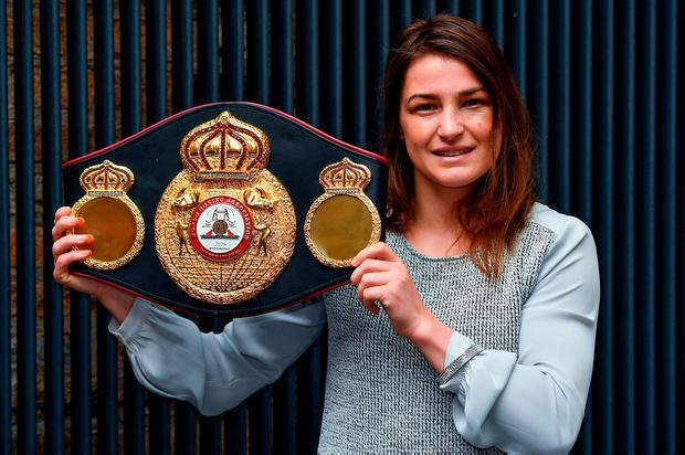 WBA World Lightweight Champion Katie Taylor with her belt during a press conference at the Irish Film Institute, in Temple Bar, Dublin. Photo: Brendan Moran/Sportsfile