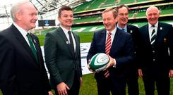 At the official launch of Ireland's bid for the 2023 Rugby World Cup last November in the Aviva Stadium were then deputy First Minister of Northern Ireland Martin McGuinness (RIP), bid ambassador Brian O'Driscoll, then Taoiseach Enda Kenny, bid chairman Dick Spring and IRFU President Stephen Hilditch. Photo: Ramsey Cardy/Sportsfile