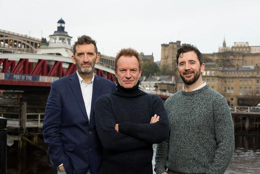 From left, actor Jimmy Nail, who stars in 'The Last Ship', Sting, and the production's director, Lorne Campbell. Picture: Mark Savage