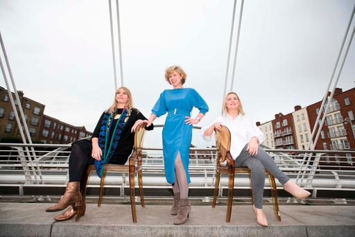 From left, Dublin City councillor Claire Byrne, designer and founder of 'Dress for Success'Sonya Lennon, and Dublin senator Lorraine Clifford Lee, at the launch of Dress for Success
