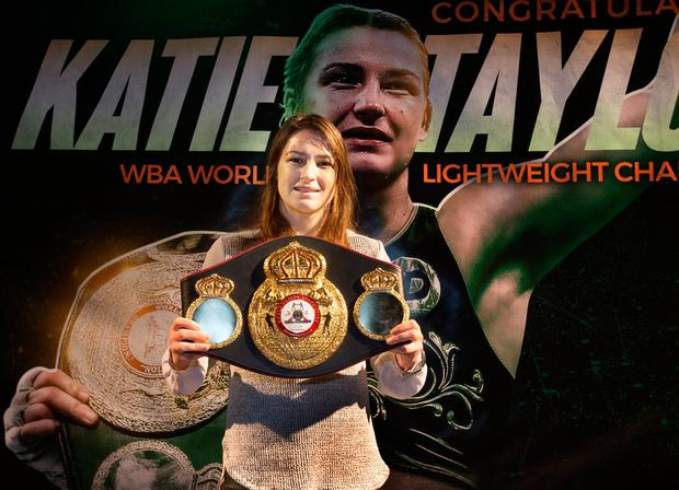 WBA World Lightweight champion Katie Taylor with her belt. Photo: Tony Gavin