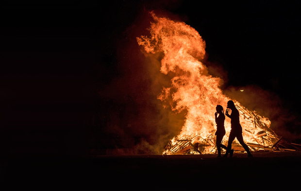 Young people enjoying the bonfires on Halloween in Darndale on Dublin's north side. Picture: Arthur Carron
