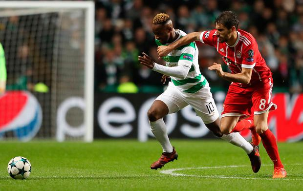 Celtic's Moussa Dembele and Bayern Munich's Aguinaga Javi Martinez battle for the ball. Photo: PA
