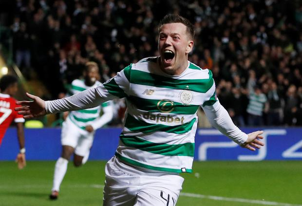 Celtic's Callum McGregor celebrates his goal. Photo: Reuters