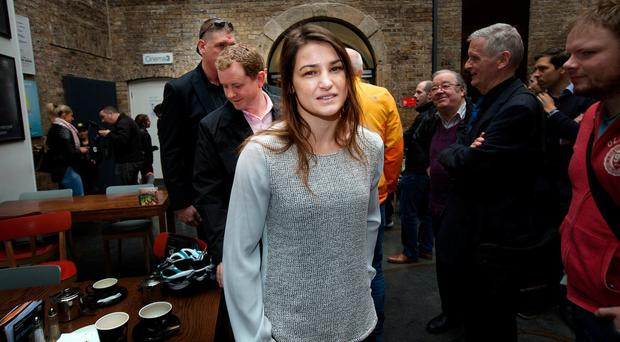 WBA World Lightweight Champion Katie Taylor at a press conference in the IFC. Photo: Tony Gavin 31/10/2017
