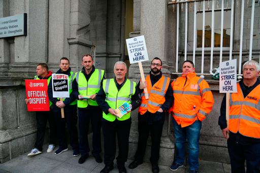 Irish Rail Workers picketing at Connolly Station today