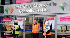 Picketing Irish Rail workers outside of Connolly Station