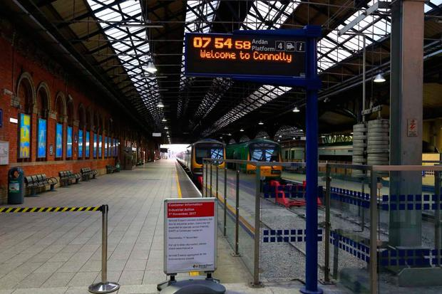 A normally bustling Connolly Station was empty this morning during the strike