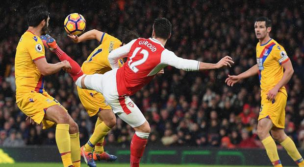 Giroud scored the scorpion kick against Crystal Palace in the Premier League. Getty Images