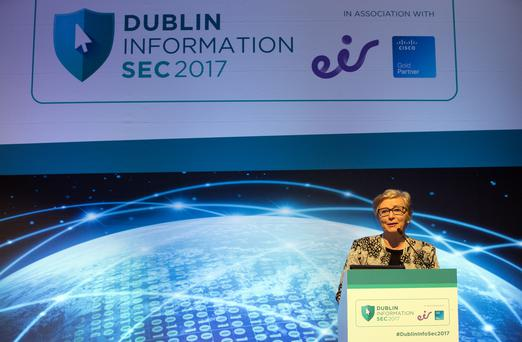Tanaiste and Minister for Business, Enterprise and Innovation, Frances Fitzgerald gives the opening speech at the Dublin Information SEC2017 seminar in the RDS Concert Hall. Photo: Tony Gavin 1/11/2017