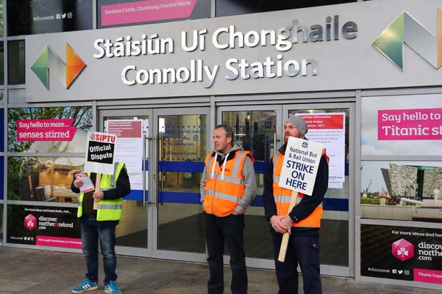 Striking workers outside Connolly Station in Dublin this morning PIC: Colin O'Riordan