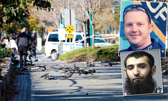 Officer Ryan Nash confronted Sayfullo Saipov after a rented truck was driven down a bike lane and into a school bus, killing eight and injuring 11, including children, the New York Daily News reported.
