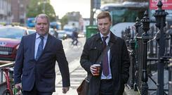 Independent News and Media (INM) journalist Philip Ryan and solicitor Kieran Kelly arriving to the Standards in Public Office Commission (SIPO) public hearing Pic:Mark Condren