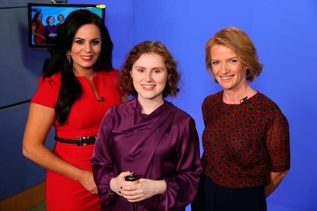 Writer Meadhbh McGrath (centre) with RTE Weather's Audrey McGrath (left) and meteorologist Joanna Donnelly. Photo: Mark McConville