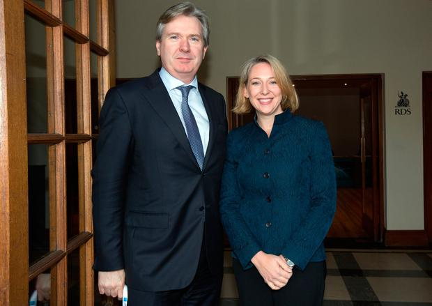 Stephen Rae, Editor in Chief, INM with Jeanette Manfra, US Assistant Secretary for Cyber Security at the Dublin Information SEC2017 seminar in the RDS Concert Hall. Photo: Tony Gavin 1/11/2017