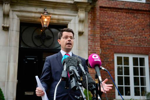 Northern Ireland Secretary James Brokenshire speaks to the media outside Stormont House in Belfast where he said that preparations are being made for the UK Government to impose a budget on Northern Ireland by the end of the month. Photo: PA