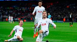 Soccer Football - Champions League - Tottenham Hotspur vs Real Madrid - Wembley Stadium, London, Britain - November 1, 2017 Tottenham's Christian Eriksen celebrates scoring their third goal with Harry Kane and Dele Alli Action Images via Reuters/Paul Childs