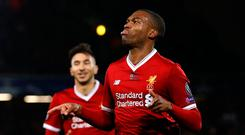 Soccer Football - Champions League - Liverpool vs NK Maribor - Anfield, Liverpool, Britain - November 1, 2017 Liverpool's Daniel Sturridge celebrates scoring their third goal REUTERS/Phil Noble