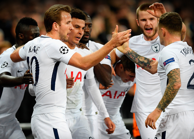 Tottenham's Dele Alli (third from left) celebrates with his team-mates after scoring his side's second goal in last night's Champions League win over Real Madrid at Wembley