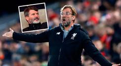 Jurgen Klopp and (inset) Roy Keane