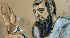 Sayfullo Saipov, the suspect in the New York City truck attack, is seen in this courtroom sketch appearing in Manhattan federal courtroom in a wheelchair in New York, NY, U.S., November 1, 2017. REUTERS/Jane Rosenberg