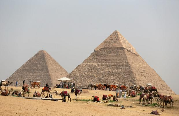 A group of camels and horses stand idle in front of the Great Pyramids awaiting tourists in Giza, Egypt on March 29, 2017. REUTERS/Mohamed Abd El Ghany/File Photo