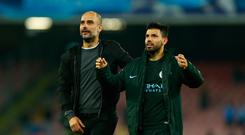 Josep Guardiola of Manchester City and Sergio Aguero of Manchester City during the UEFA Champions League football match Napoli vs Manchester City on November 1, 2017 at the San Paolo stadium in Naples. Manchester City won 2-4. (Photo by Matteo Ciambelli/NurPhoto via Getty Images)