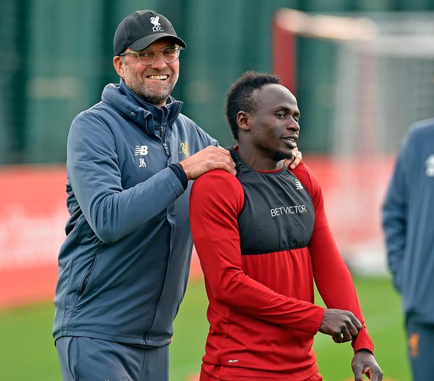 Jurgen Klopp and Sadio Mane. Photo: Getty