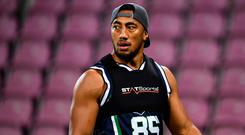 Bundee Aki of Connacht ahead of the European Rugby Challenge Cup Pool 5 Round 1 match between Oyonnax and Connacht at Stade de Geneve in Geneva, Switzerland. (Photo By Sam Barnes/Sportsfile via Getty Images)