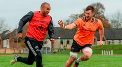 Munster duo Simon Zebo and Sean McCarthy playing soccer during training ahead of Munster's game against Glasgow tonight. Photo: DIARMUID GREENE/SPORTSFILE